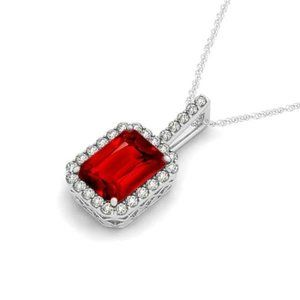 6.45 Carats prong set red ruby with pendant neckla